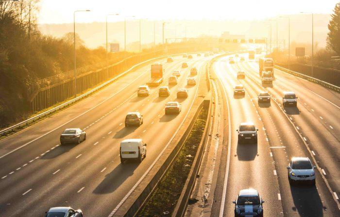 Birdseye view of the motorway UK