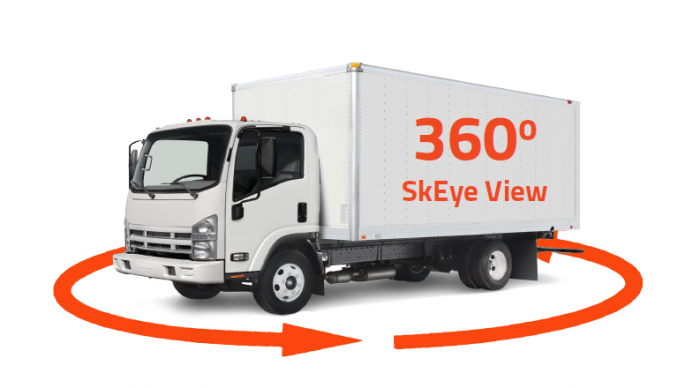 360 SkEye View eliminates blind spots by provides fleet drivers with all-around visibility of the vehicle's surroundings in a single view.
